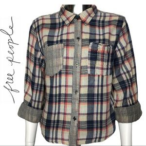 Free People Brushed Cotton Button Up Plaid Shirt